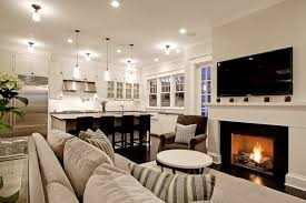 decorating ideas for open living room and kitchen chic comfy cozy open living room kitchen design with gray sofa