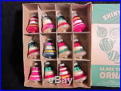 Glass Bell Christmas Ornaments - of 12 vintage shiny brite glass bell christmas ornaments in the box