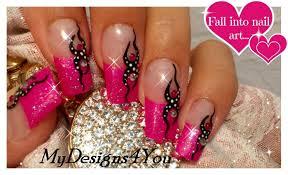 pink glitter nail art tutorial tattoo nail design monochrome