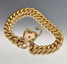 gold chain heart bracelet images Antique rose gold heart padlock curb chain bracelet antique jpg