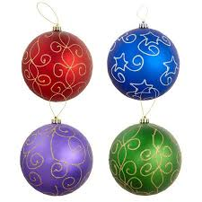 200mm jumbo glitter swirl shatterproof ornaments set