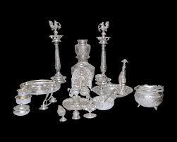 nathella collections silver pooja set antique silver