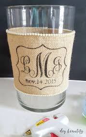 monogrammed wedding gift diy idea for custom wedding gifts candle holder with burlap