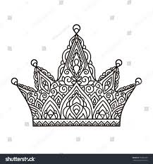 vector illustration outline lace pattern crown stock vector