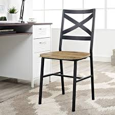 Wood And Metal Dining Chairs Walker Edison Furniture Company Angle Iron X Back Barnwood Metal