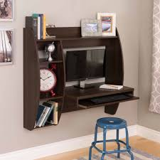 floating desk with storage and keyboard tray multiple finishes