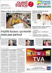 Newspaper OUEST FRANCE (France). Newspapers in France. Fridays.