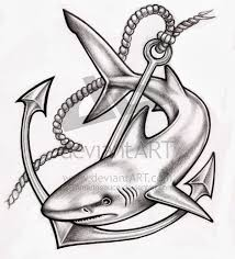 black ink shark with anchor tattoo design