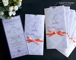 Pocket Wedding Invites Wedding Card Malaysia Crafty Farms Handmade Lavendar U0026 Peach