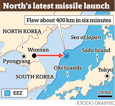 Sea Of Japan Map North Korea Fires Apparent Scud Type Missile That Lands In Japan U0027s
