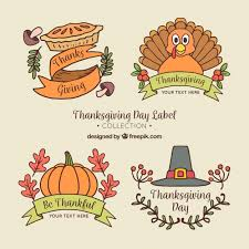 pack of thanksgiving stickers vector free