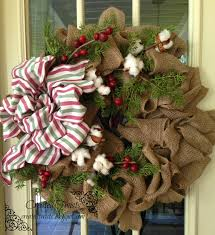 burlap christmas wreath created twists burlap christmas wreath with cotton pine and berries