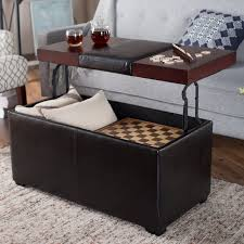 4 tray top storage ottoman living room ottoman with table inside brown leather circle