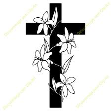 cross with flowers clipart