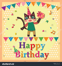 happy birthday card cat stock vector 128661464 shutterstock