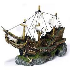 classic aquarium ornament galleon shipwreck with sails fish tank