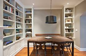 built in bookshelf dining room traditional with wood bench