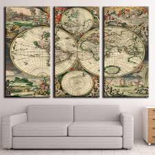 World Map Canvas Art by Map Model Picture More Detailed Picture About 3 Pcs Set Retro