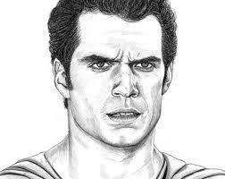 drawing print henry cavill superman man steel