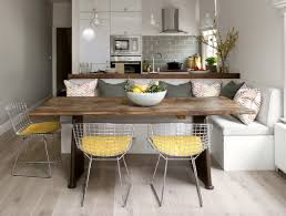 Yellow Kitchen White Cabinets Light Gray Kitchen Banquette Yellow Net Chairs Subway Tile