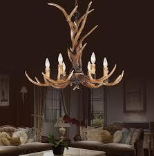 Deer Antler Light Fixtures Europe Country 6 Candle Resin Antler Chandelier Lighting