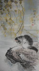 colorink painting a cat on rock in the moon by zhang qi