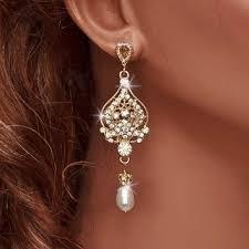 Chandelier Pearl Earrings For Wedding Shop Gold Chandelier Earrings For Wedding On Wanelo