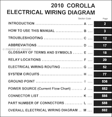 2010 toyota corolla wiring diagram manual original