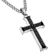 philippians 4 13 black cross necklace strength bible verse