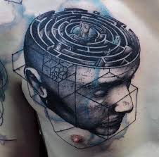 portrait maze unique abstract male chest tattoos tattoos