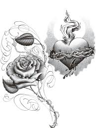 black and grey sacred heart with roses tattoo on left front