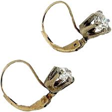 leverback diamond earrings vintage white yellow gold lever back diamond earrings from