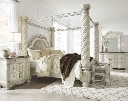 White Canopy Bedroom Set Cassimore Pearl Silver Upholstered Poster Canopy Bedroom Set