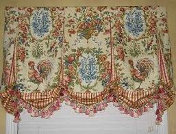 French Kitchen Curtains by French Country Roosters Balloon Shade Valance Curtains French