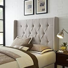 awesome queen upholstered headboard wingback tufted ivory