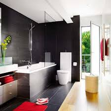 modern bathroom design idea using black accents tiles wall design