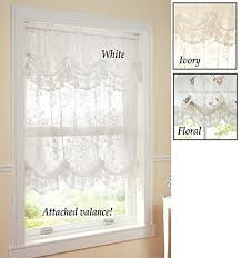 Lace Curtains Amazon Allison Balloon Lace Curtain And Valance Floral Collections Etc