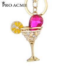 wine glass keychain pro acme fashion novelty wine glass flowers keychains purse bag