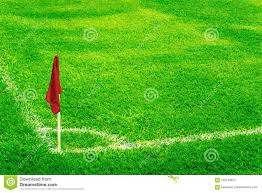 Flag Football Play Designer Red Corner Flag On A Football Field With Bright Fresh Green Turf