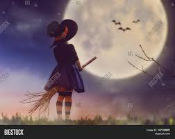 happy halloween cute little witch with a broomstick beautiful