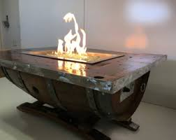 Wine Barrel Fire Pit Table by Propane Fire Pit Etsy