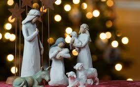 Home Interior Jesus Figurines Holiday Christmas Tree Figurines Lights Bokeh Jesus Birth Hd