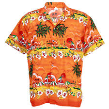 aloha shirt coconut boat ship sea orange l hd248o