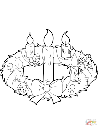 coloring pages christmas wreath with gingerbread house in advent
