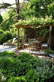natural garden with a covered sitting area interior design ideas