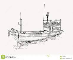 fishing trawler at the sea sketch stock vector image 91832967