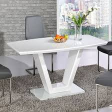 shaped dining table ventura white high gloss finish v shape base dining table