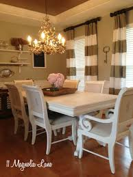 White Chalk Painted Dining Room Table  Monogrammed Chairs - Paint for dining room