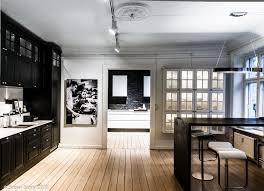 a stunning kitchen display of black cabinetry and