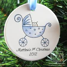 Personalized Christmas Ornaments Baby Baby U0027s 1st Christmas Boy Baby Carriage Ornament